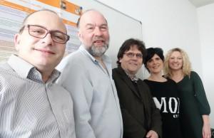 Das Team der bfw-Sprachkurse: (v. li.) pädagogischer Leiter Mathias Katz, die Sprachlehrer Wolfgang Jost und Dr. Helmut Orpel, Lehrgangsorganisatorin Melanie Christmann und Sprachlehrerin Joanna Radojewska.